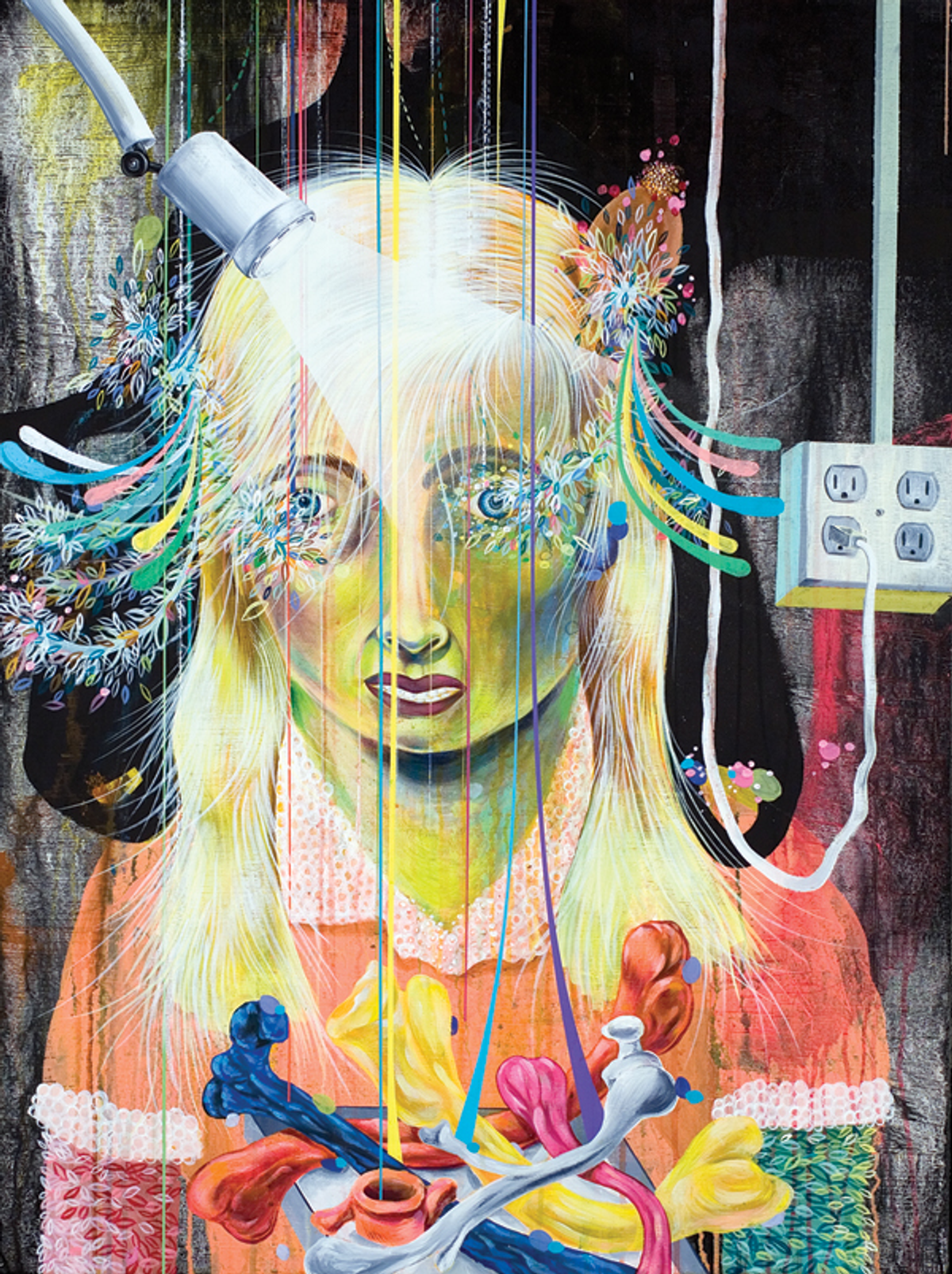 """""""Patient-Girl,"""" from the series """"Patient,"""" 2007. Mixed media on canvas, 40 x 30 inches."""