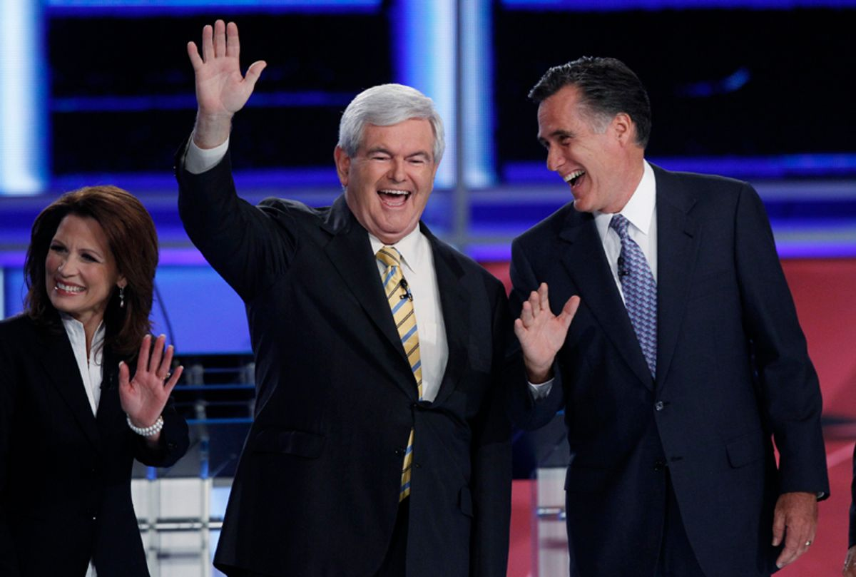 Former Speaker of the U.S. House of Representatives Newt Gingrich (R-GA) (C), former Massachusetts Governor Mitt Romney and U.S. Rep. Michele Bachmann (R-MN), take the stage during a photo opportunity before the start of the first New Hampshire debate of the 2012 campaign at St. Anselms College in Manchester, New Hampshire June 13, 2011. REUTERS/Shannon Stapleton (UNITED STATES  - Tags: POLITICS) (© Shannon Stapleton / Reuters)