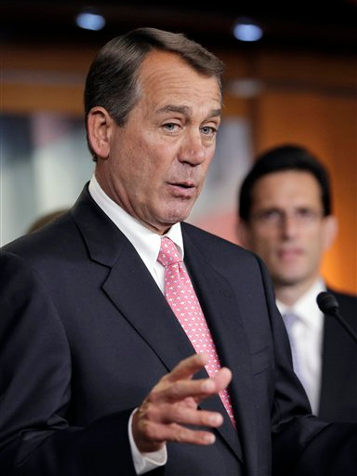 House Speaker John Boehner of Ohio speaks to reporters on Capitol Hill in Washington, Thursday, June 16, 2011. Boehner reasserted that the scandal surrounding Rep. Anthony Weiner, D-NY, had become a distraction from the important work in Congress. House Majority Leader Eric Cantor of Virginia is at right. (AP Photo/J. Scott Applewhite) (AP)
