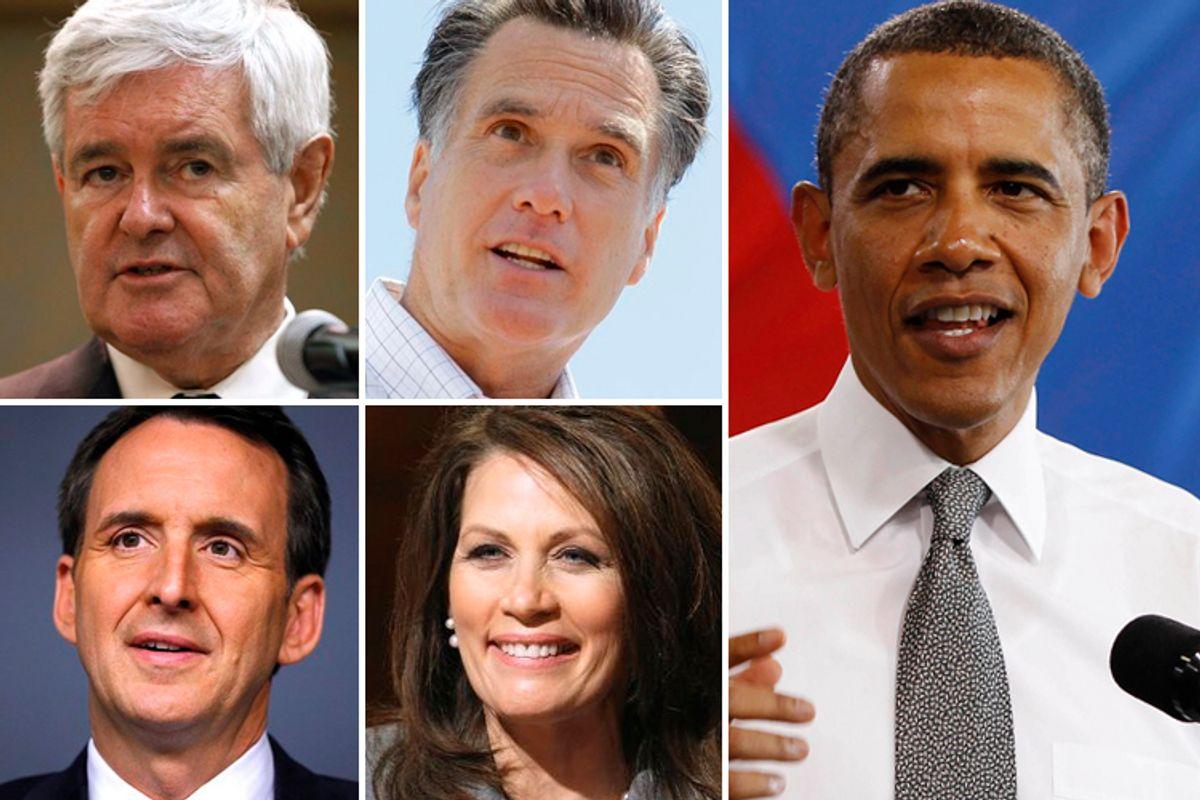 Clockwise, top left: Newt Gingrich, Mitt Romney, President Barack Obama, Michelle Bachmann, Tim Pawlenty