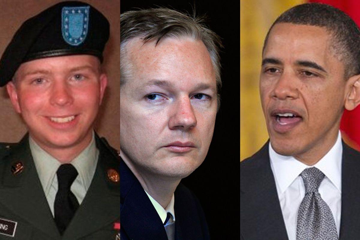 Private Bradley Manning, President Obama and Julian Assange