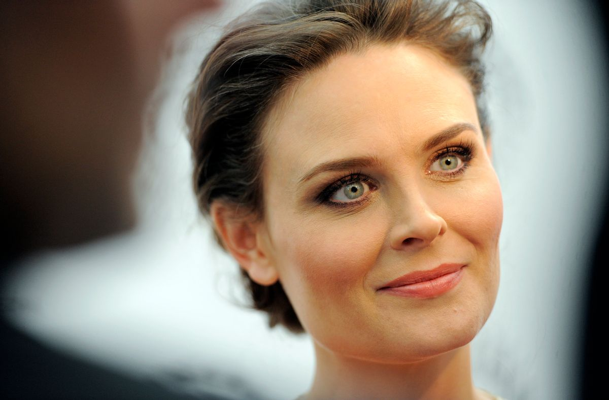 """Emily Deschanel, a cast member in the television series """"Bones,"""" listens to a reporter's question after she arrived at """"An Evening with Fox's 'Bones,'"""" Monday, May 9,  2011, at The Paley Center for Media in Beverly Hills, Calif. (AP Photo/Chris Pizzello) (Chris Pizzello)"""