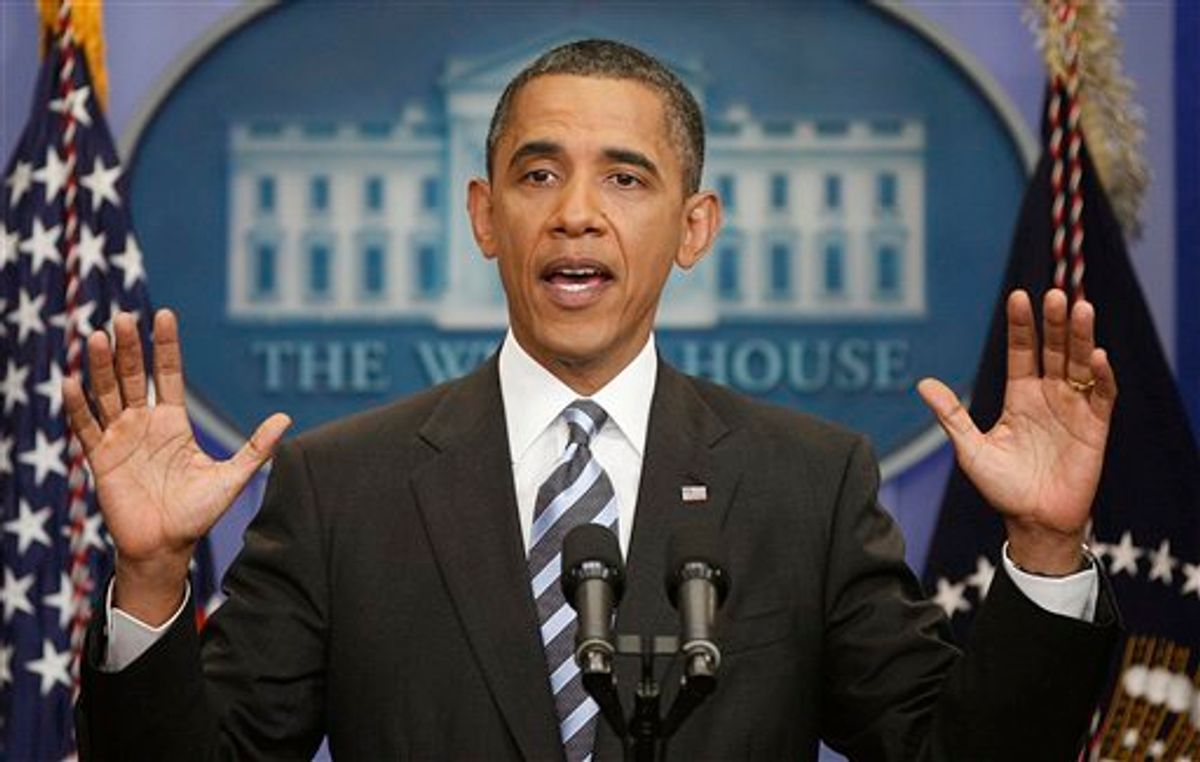 President Barack Obama answers questions on the ongoing budget negotiations during a press conference in the Brady Briefing Room of the White House in Washington, Friday, July 15, 2011. (AP Photo/Pablo Martinez Monsivais) (AP)