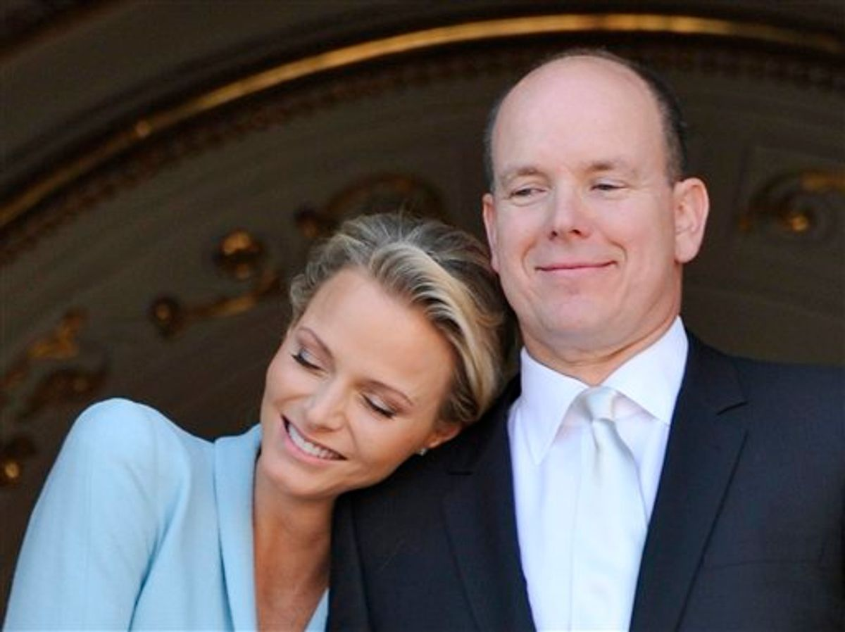 Prince Albert II of Monaco appears with his bride Charlene Princess of Monaco at the Monaco palace, after the civil wedding marriage ceremony, Friday, July 1, 2011. (AP Photo/Bruno Berbert, Pool) (AP)