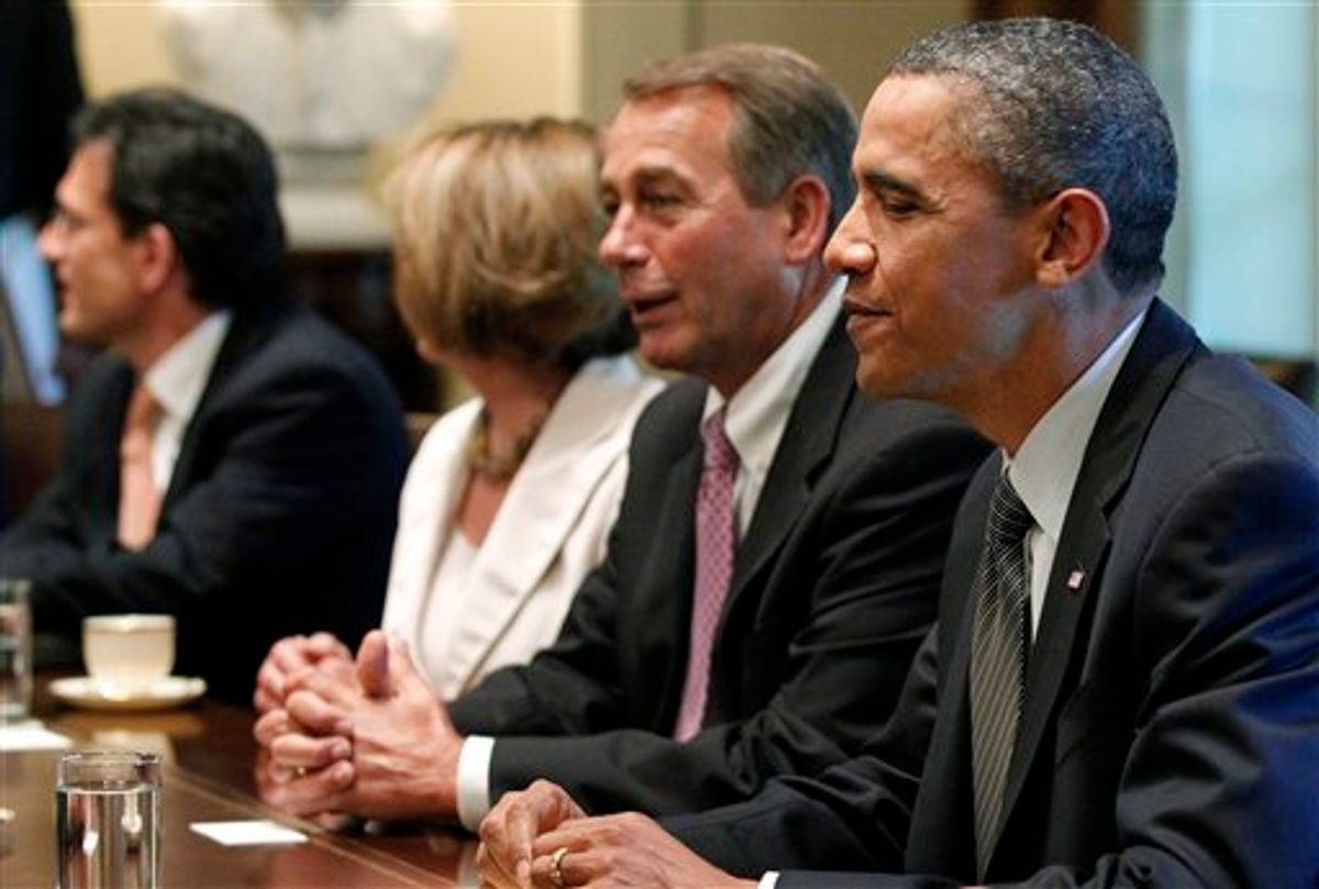 In this July 14, 2011, file photo, President Barack Obama sits with House Speaker John Boehner of Ohio, House Minority Leader Nancy Pelosi of California, House Majority Leader Eric Cantor of Virginia, as he meets with Republican and Democratic leaders regarding the debt ceiling in the Cabinet Room of the White House in Washington, Thursday, July 14, 2011. Obama's decision to haul lawmakers in day by day to negotiate a debt deal comes down to reality: He has no other choice. The president has essentially cleared his agenda to deal with one enormous crisis.  (AP Photo/Charles Dharapak)           (AP)