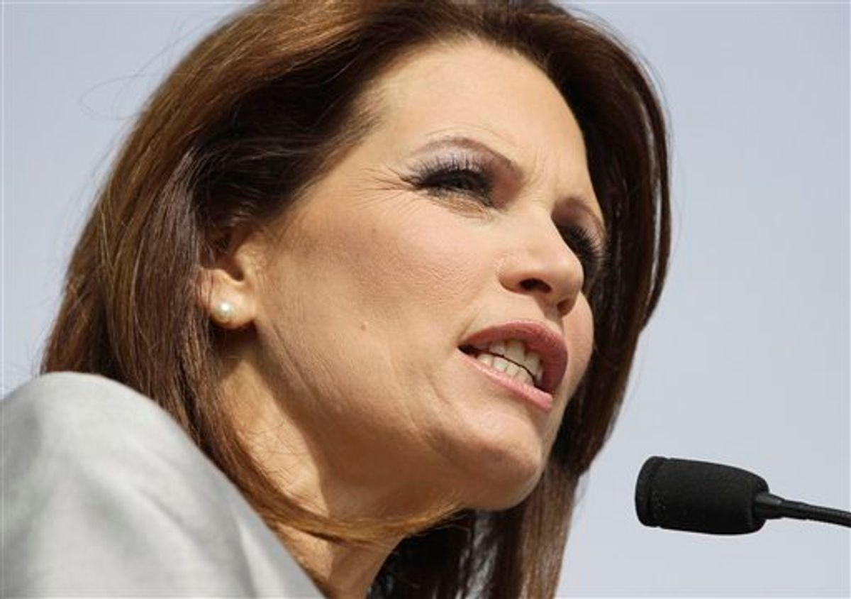 Rep. Michele Bachmann, R-Minn., makes her formal announcement to seek the 2012 Republican presidential nomination, Monday, June 27, 2011, in Waterloo, Iowa. Bachmann, who was born in Waterloo, will continue her announcement tour this week with stops in New Hampshire and South Carolina. (AP Photo/Charlie Riedel) (AP)