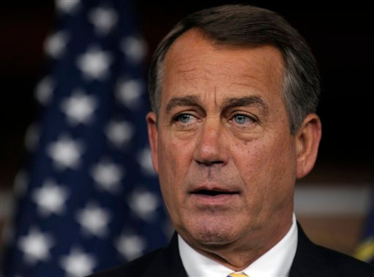 House Speaker John Boehner of Ohio speaks a news conference on Capitol Hill in Washington, Thursday, July 21, 2011. (AP Photo/Susan Walsh) (AP)