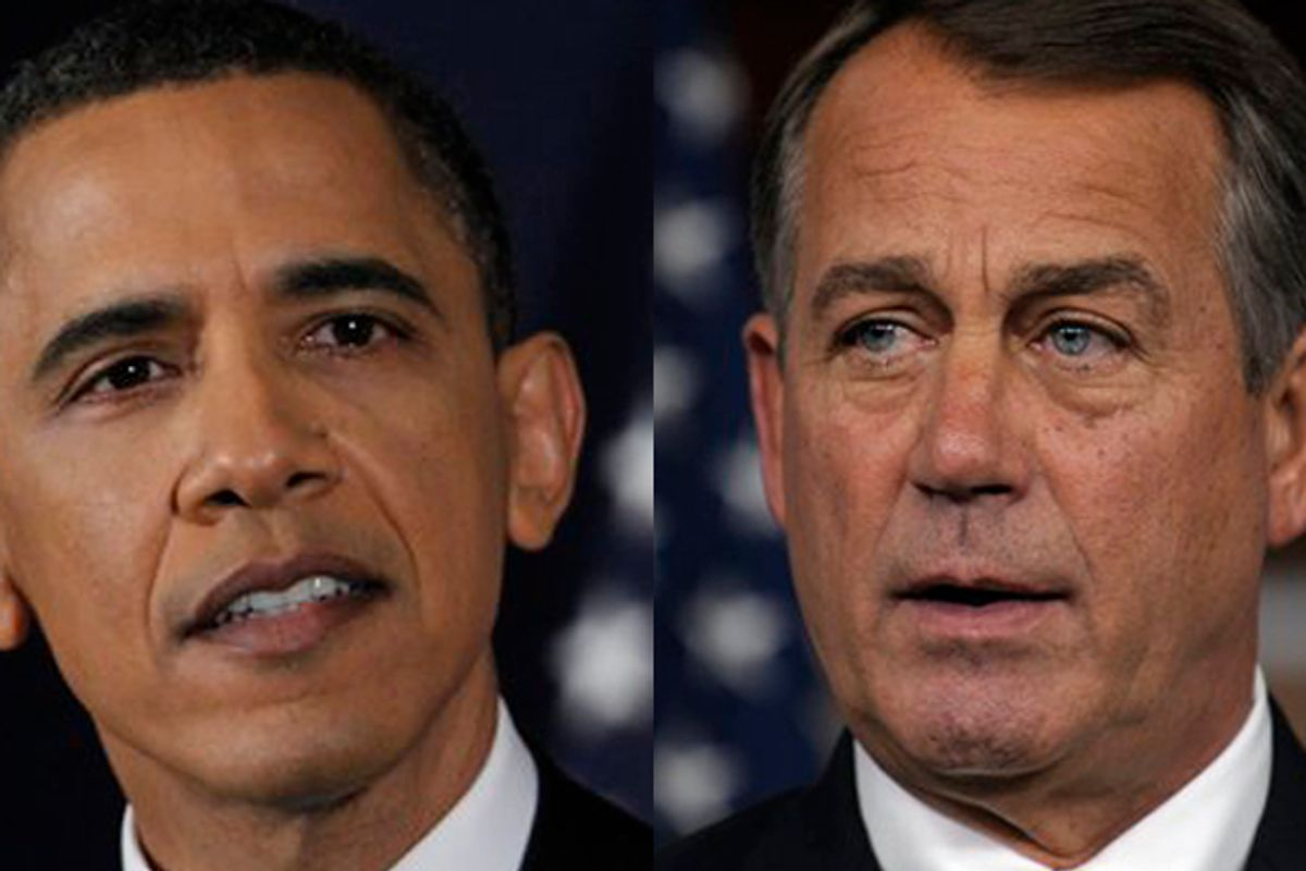 House Speaker John Boehner of Ohio speaks a news conference on Capitol Hill in Washington, Thursday, July 21, 2011. (AP Photo/Susan Walsh) (Susan Walsh)
