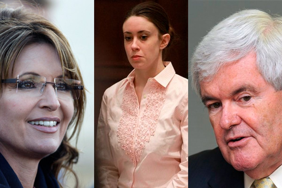 Sarah Palin, Casey Anthony and Newt Gingrich