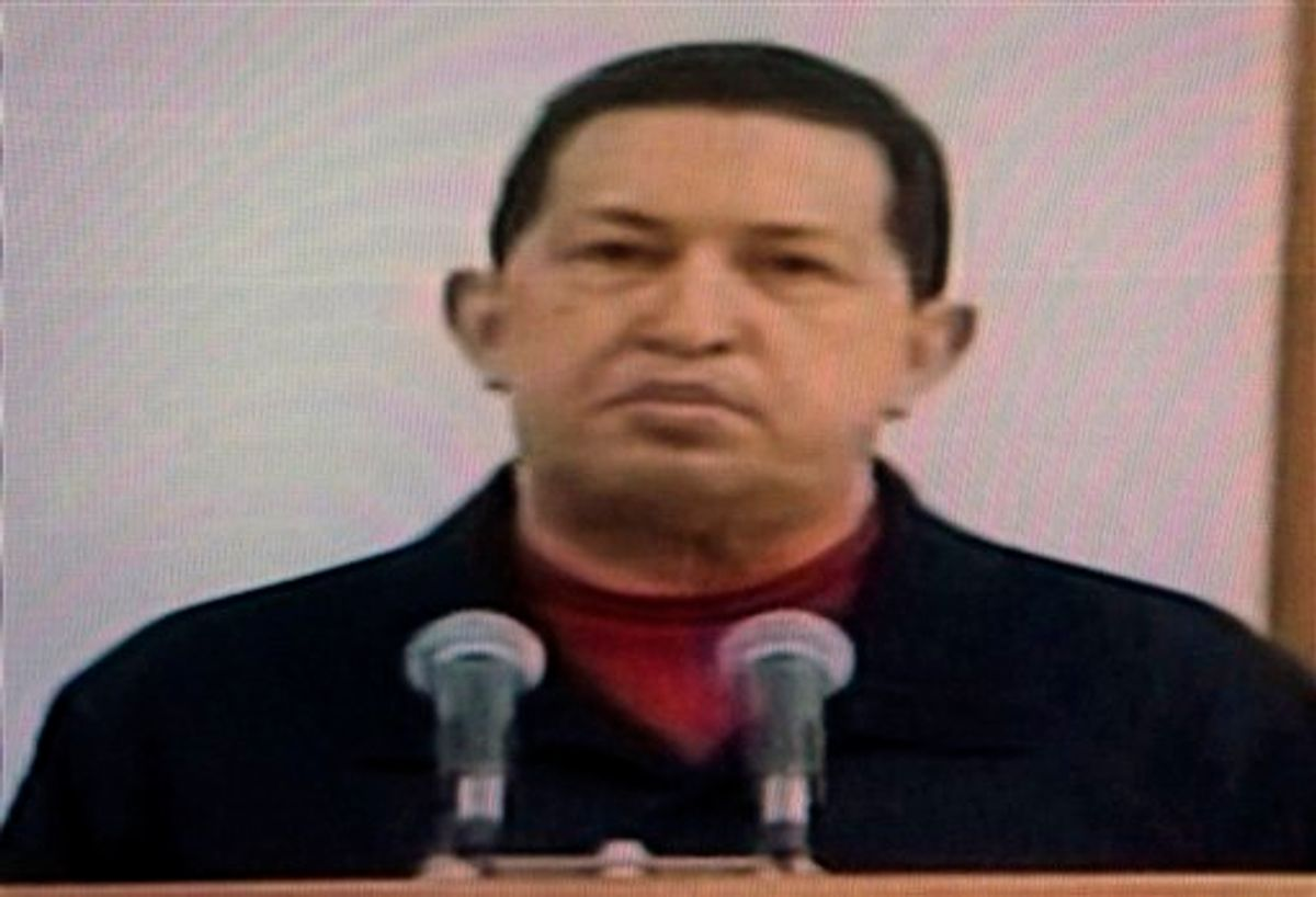 In this frame grab taken from Venezolana de Television, VTV, Venezuela's President Hugo Chavez delivers a televised speech aired from Cuba, Thursday, June 30, 2011. Chavez said he underwent a second surgery in Cuba that removed a cancerous tumor. It was unclear when and where the message was recorded. (AP Photo/Ariana Cubillos)         (AP)