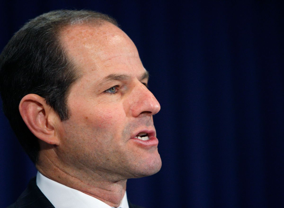 New York Governor Eliot Spitzer announces his resignation at his office in New York March 12, 2008. Spitzer resigned on Wednesday amid a scandal over a $1,000-an-hour prostitute, cutting short a career built on pugnacious investigations of Wall Street crimes.   REUTERS/Brendan McDermid (UNITED STATES)    (Reuters)