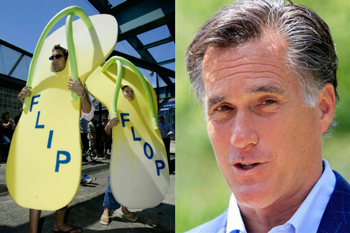 Left: Protesters wear flip-flops to deride Kerry in 2004. Right: Mitt Romney.