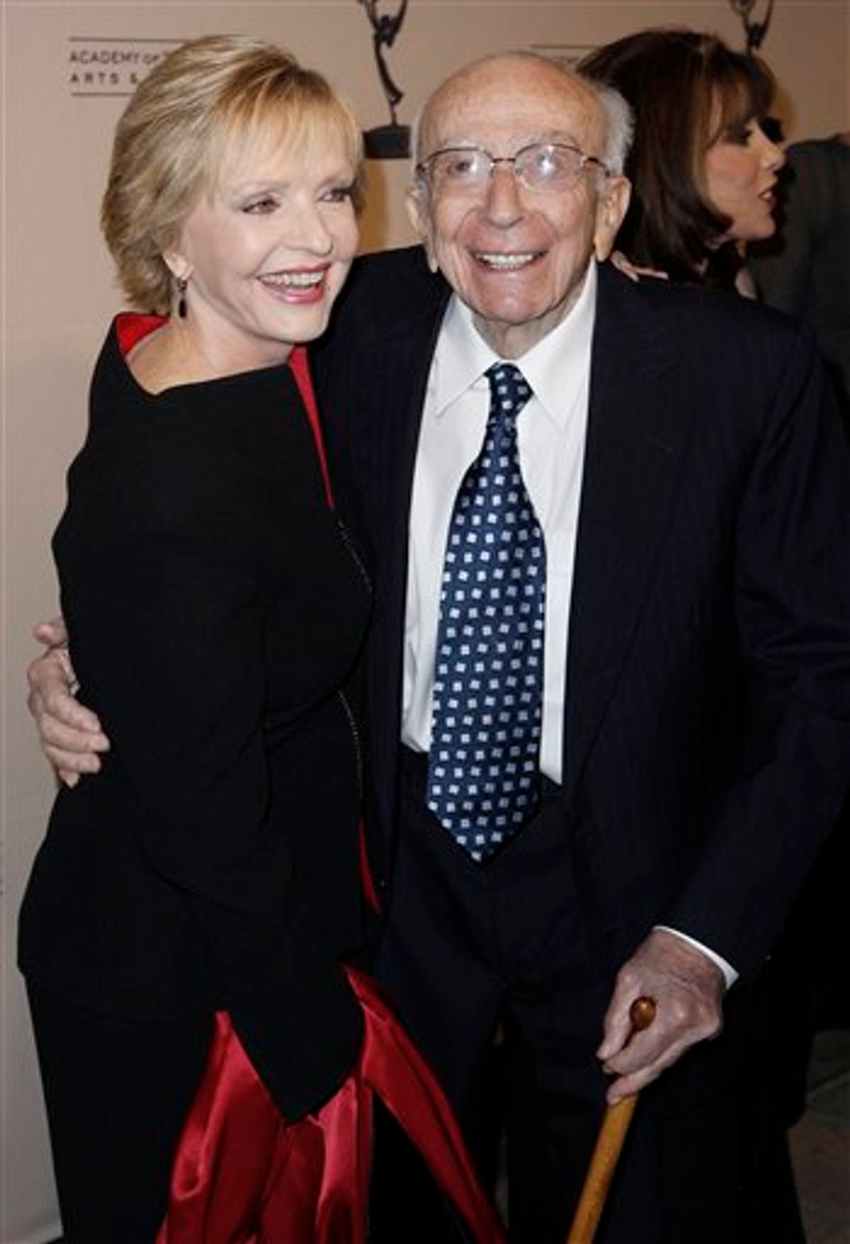 """FILE - In this Dec. 9, 2008 file photo, Hall of Fame inductee Sherwood Schwartz, right, and actress Florence Henderson pose together at the Academy of Television Arts and Sciences 2008 Hall of Fame Ceremony in Beverly Hills, Calif. Schwartz, who created """"Gilligan's Island"""" and """"The Brady Bunch"""" died Tuesday, July 12, 2011. He was 94.  (AP Photo/Matt Sayles, file)  (AP)"""
