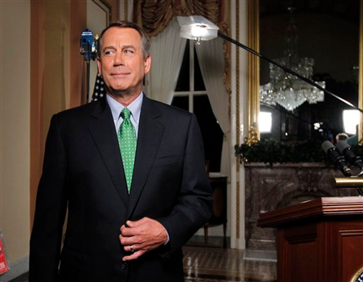 Speaker of the House John Boehner is seen after delivering his response to President Obama's remarks about averting default and dealing with the federal deficit, at the Capitol in Washington, Monday, July 25, 2011.  (AP Photo/J. Scott Applewhite) (AP)