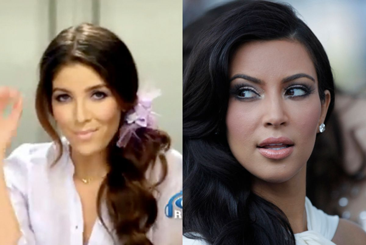 Melissa Molinaro in an Old Navy ad, and Kim Kardashian.