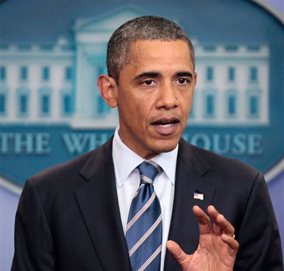 President Barack Obama talks about the ongoing budget negotiations, Thursday, July, 7, 2011, in the briefing room at the White House in Washington.(AP Photo/Pablo Martinez Monsivais) (AP)