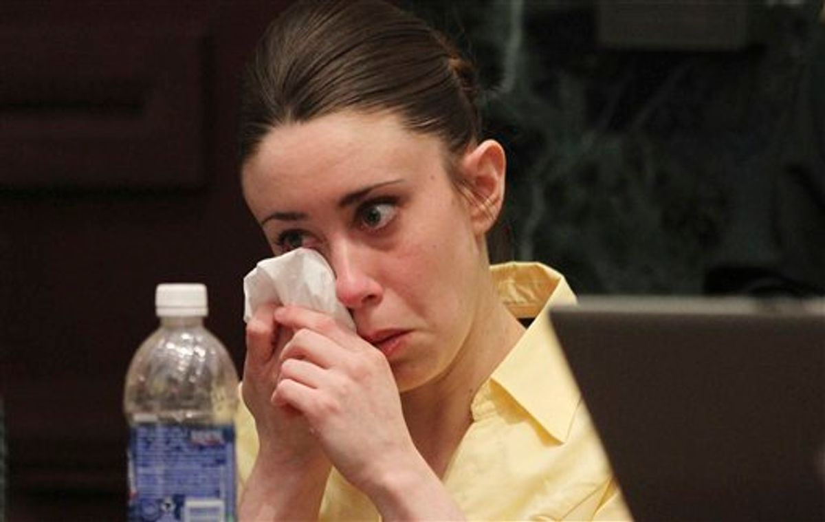 Casey Anthony reacts while listening to the defense's closing arguments in her murder trial in Orlando, Fla., Sunday, July 3, 2011. Anthony has pleaded not guilty to first-degree murder in the death of her daughter, Caylee, and could face the death penalty, if convicted of that charge. (AP Photo/Red Huber, Pool) (AP)