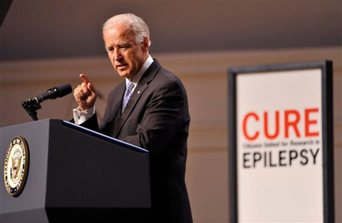 U.S. Vice President Joe Biden speaks at the Citizens United for Research in Epilepsy annual fundraising event on Tuesday, June 21, 2011 in Chicago. Gov. Pat Quinn and Chicago Mayor Rahm Emanuel were among the 900 people who attended a fundraiser. (AP Photo/Brian Kersey)  (AP)