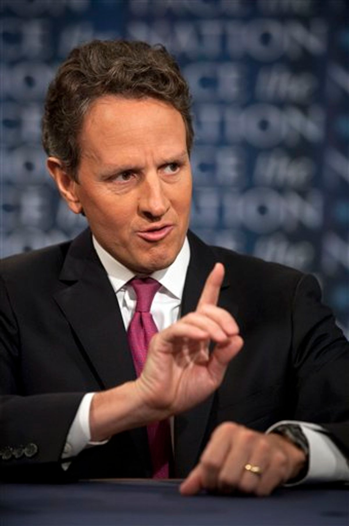 """In this photo provided by CBS News, U.S. Treasury Secretary Timothy Geithner talks about the debt crisis on CBS's """"Face the Nation"""" in Washington Sunday, July 10, 2011. Geithner said Sunday that the Obama administration wants to seek """"the biggest deal possible"""" on debt reduction. His comments followed word from GOP congressional leaders Sunday that the White House's $4 trillion package was off the table. (AP Photo/CBS News, Chris Usher) (AP)"""