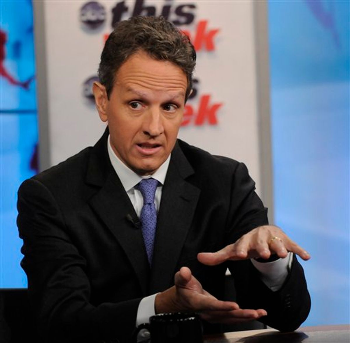 """In this photo provided by ABC News U.S. Treasury Secretary Timothy Geithner talks about the debt-ceiling on ABC's """"This Week"""" Sunday, July 24, 2011, in Washington. Congressional leaders in Washington planned to work on a fiercely hot Sunday to try to reach a bipartisan accord to avert a debt-ceiling crisis on Aug. 2. (AP Photo/ABC, Fred Watkins) (AP)"""
