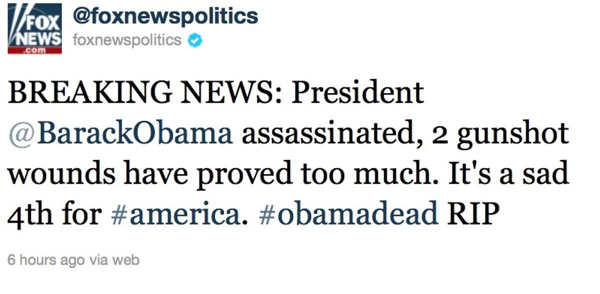 Screengrab of hacked Twitter feed