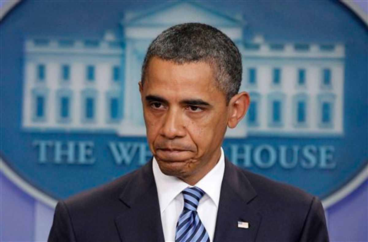 President Barack Obama makes a statement to reporters about debt ceiling negotiations, Tuesday, July 5, 2011, in the James Brady Press Briefing Room of the White House in Washington. (AP Photo/Charles Dharapak) (AP)