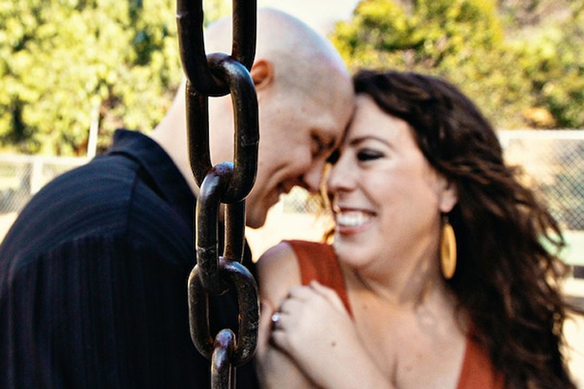 An engagement photo of the author and his fiancee