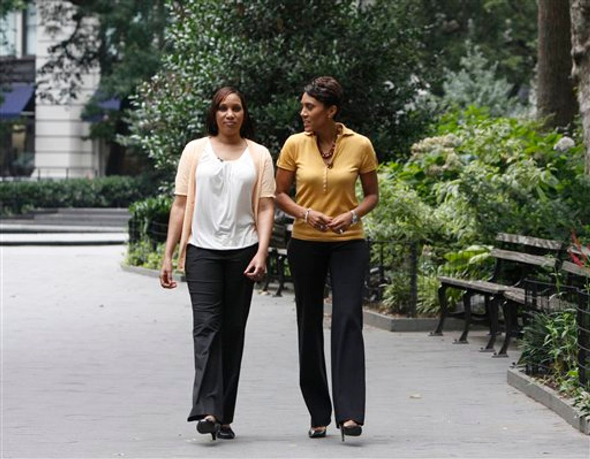 """In this undated photo provided by ABC News, Robin Roberts, right, talks to Nafissatou Diallo, the alleged victim in the Dominique Strauss-Kahn assault case. Diallo told the network she never wanted to be in the public eye but had no choice, amid questions about her credibility. Lawyers for Strauss-Kahn told ABC that the interview was """"an unseemly circus"""" designed to inflame public opinion. (AP Photo/ABC News, Heidi Gutman) (AP)"""