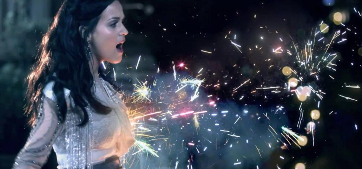 """Katy Perry's sparkler boobs boosted """"Firework"""" with two nominations in the VMAs."""