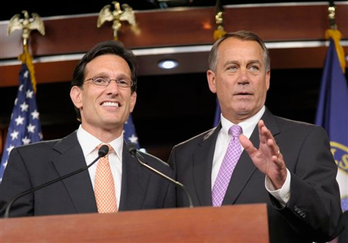 House Speaker John Boehner of Ohio, right, stands with House Majority Leader Eric Cantor of Va., during a news conference on Capitol Hill in Washington, Thursday, July 14, 2011. (AP Photo/Susan Walsh)      (AP)