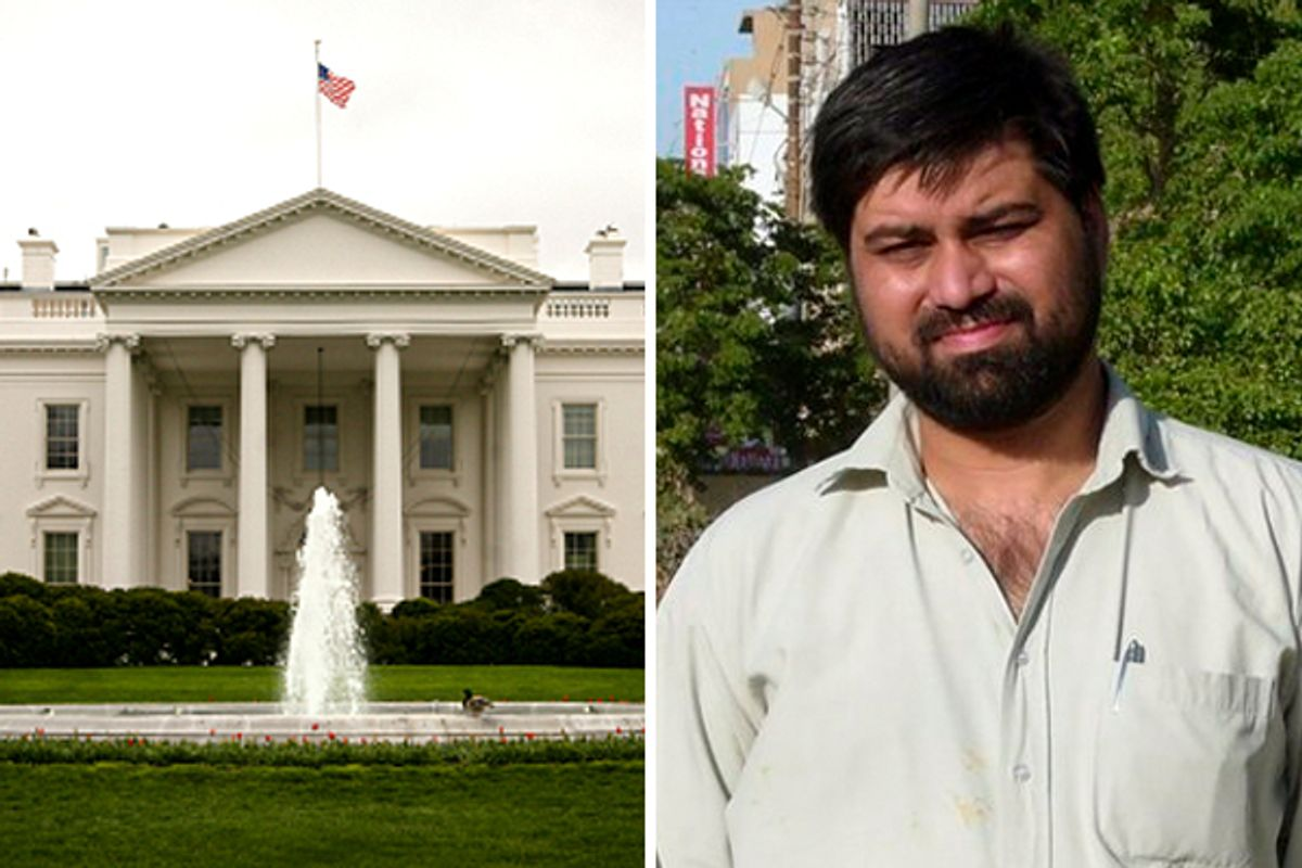 Left: The White House. Right: An undated photo provided by Adnkronos news agency showing Pakistani journalist and Adnkronos International correspondent Syed Saleem Shahzad