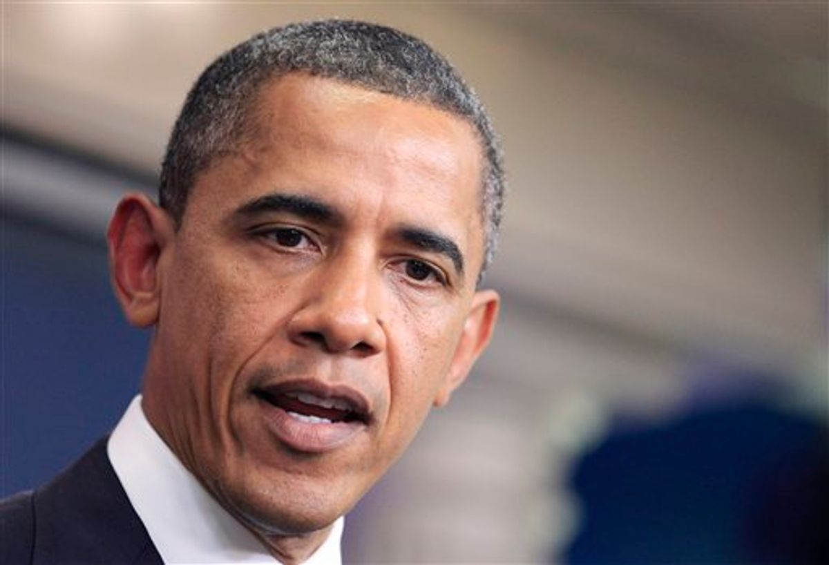 President Barack Obama discusses the continuing budget talks, Tuesday, July 19, 2011, in the the briefing room of the White House in Washington.  (AP Photo/Manuel Balce Ceneta) (AP)