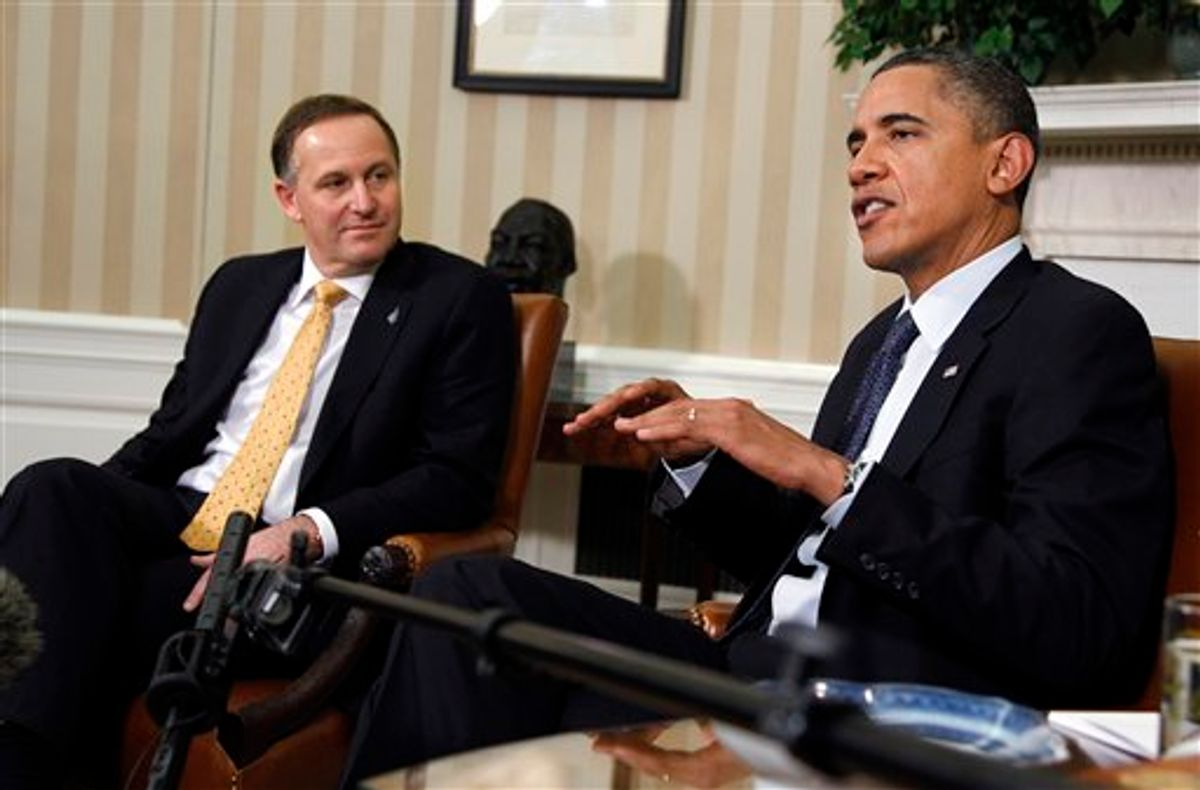 President Barack Obama, right, with New Zealand's Prime Minister John Key, delivers a statement in the Oval Office of the White House in Washington following their meeting Friday, July 22, 2011.  (AP Photo/Manuel Balce Ceneta) (AP)