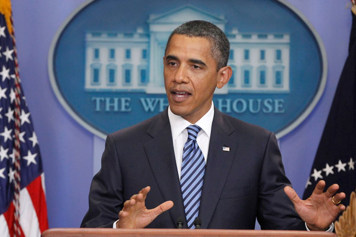 President Barack Obama makes a statement to reporters about debt ceiling negotiations, Tuesday, July 5, 2011, in the James Brady Press Briefing Room of the White House in Washington. (AP Photo/Charles Dharapak) (Charles Dharapak)