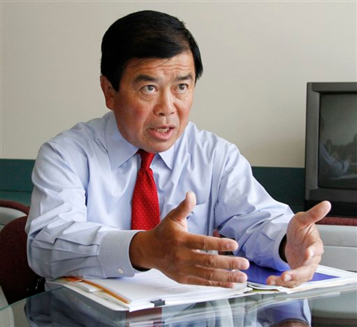 """FILE - In this Aug. 17, 2010 file photo, Congressman David Wu, D-Ore., speaks during an interview in Portland, Ore. Wu is calling a published report about an alleged unwanted sexual encounter with a young woman """"very serious"""" but has not yet said whether the accusation is true. The Oregonian reports that a young woman from California has accused the Democrat of an unwanted sexual encounter last November. The newspaper said the information came from sources who wanted to remain anonymous. (AP Photo/Don Ryan, File) (AP)"""
