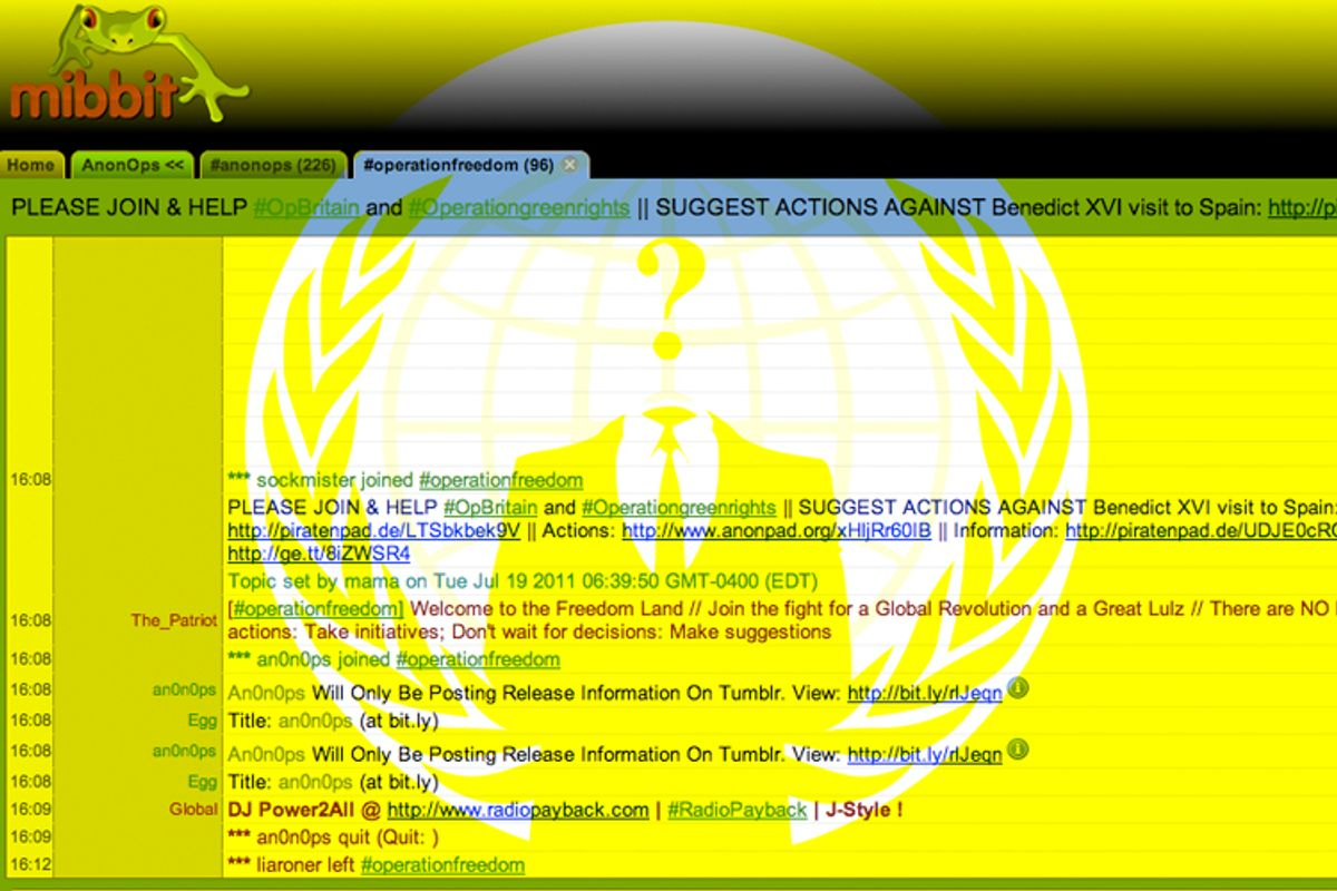 If you're looking to find one of the LulzSec hackers, look no further than the Anonymous chat network (shown above)