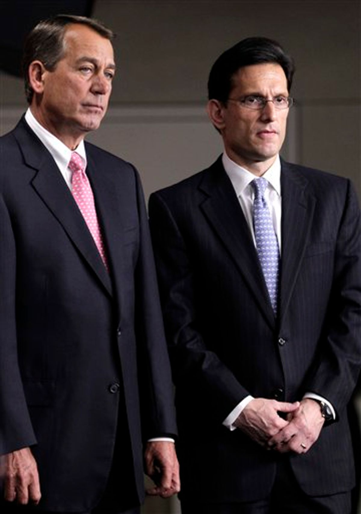 FILE -- In this file photo of Thursday, June 16, 2011, House Majority Leader Eric Cantor of Virginia, right, stands with House Speaker John Boehner of Ohio on Capitol Hill in Washington. Cantor, who has been participating in bipartisan budget talks headed by Vice President Joe Biden, pulled out today citing an impasse over taxes that required intervention by President Barack Obama and House Speaker John Boehner. (AP Photo/J. Scott Applewhite, File)    (AP)
