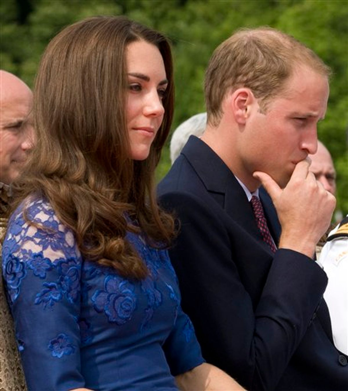 Prince William and Kate, the Duke and Duchess of Cambridge, take part in a religious ceremony on HMCS Montreal in Quebec City , Sunday July 3, 2011. (AP Photo/The Canadian Press, Adrian Wyld) (AP)