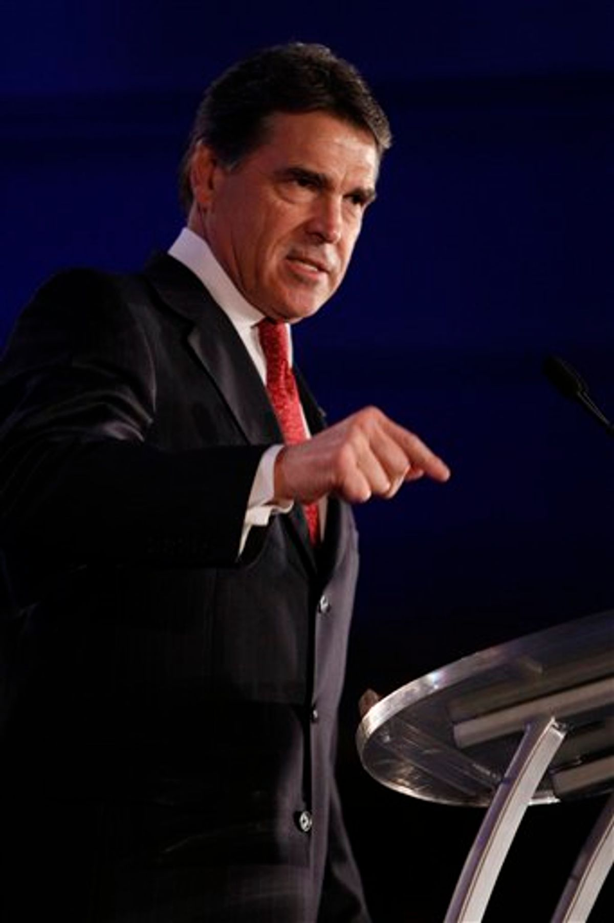 FILE - In this June 18, 2011 file photo, Texas Gov. Rick Perry speaks at the Republican Leadership Conference in New Orleans. If Perry decides to run for president, he'll attack from the Republican Party's right flank, as he would be among the GOP field's most conservative candidates. (AP Photo/Patrick Semansky, File) (AP)