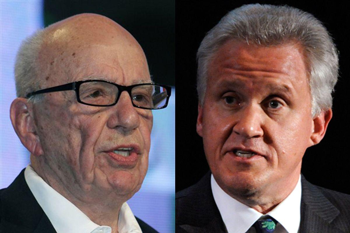 Rupert Murdoch (left) and Jeffrey Immelt