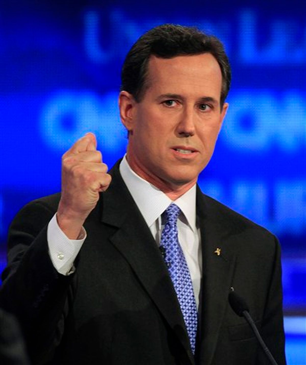 Former Pennsylvania Sen. Rick Santorum speaks during the first New Hampshire Republican presidential debate at St. Anselm College in Manchester, N.H., Monday, June 13, 2011. (AP Photo/Jim Cole) (AP)