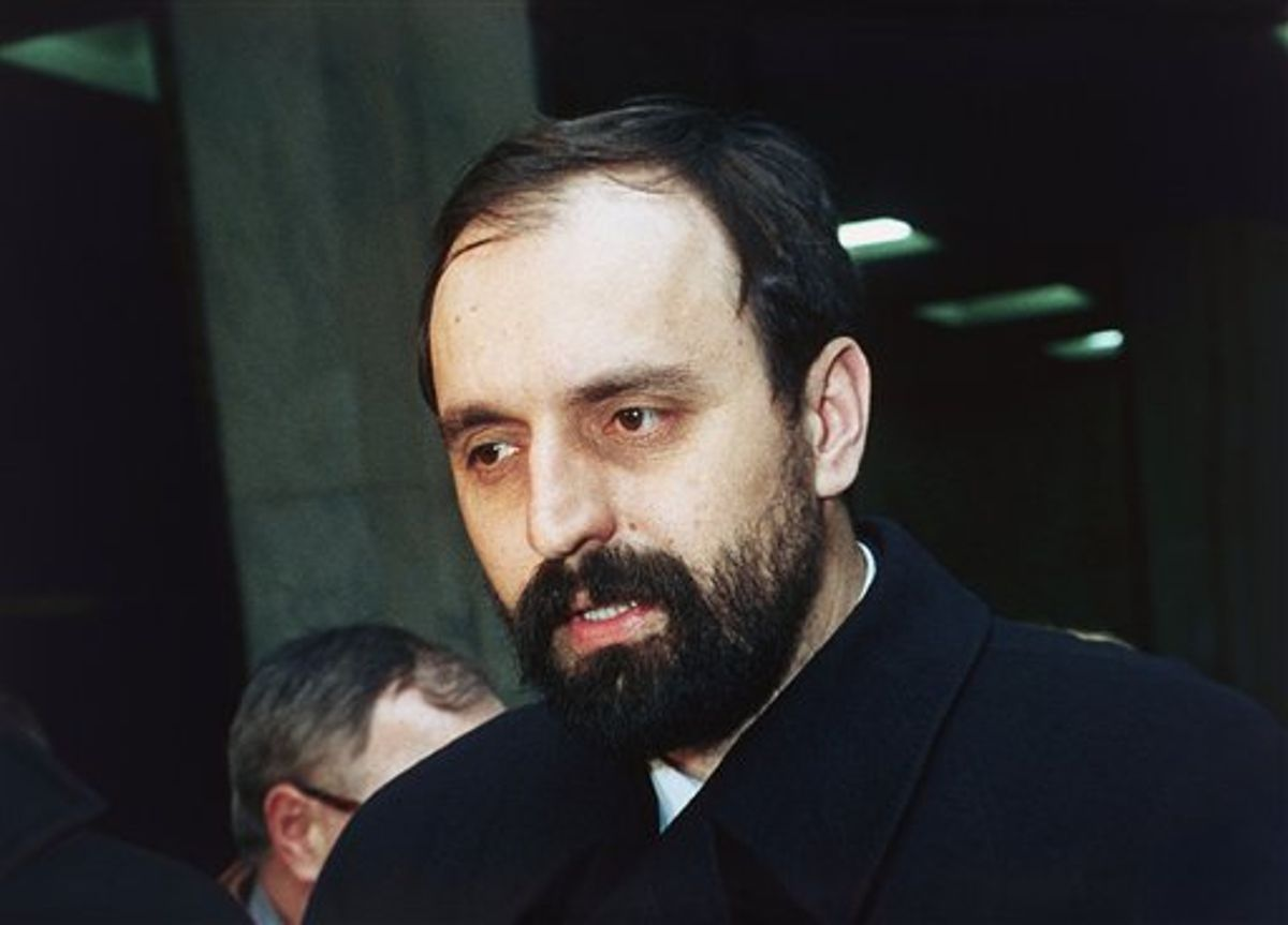 FILE - In this Feb. 6, 1993 file photo, Goran Hadzic, who heads representatives of the Krajina Serbs, talks with reporters at the United Nations in New York, United States. It has been reported on Wednesday, July 20, 2011 by Serbian TV station B92 that  authorities have arrested Goran Hadzic, the last remaining fugitive sought by the U.N. war crimes court. Hadzic has been on the run for eight years. He is wanted for atrocities stemming from the 1991-1995 war in Croatia. (AP Photo/Bebeto Matthews, File)   (AP)