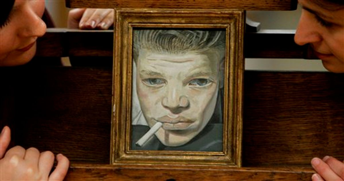 """FILE In this Oct. 29, 2007 photo, people look at a painting by Lucian Freud entitled, '""""Boy Smoking """", dated 1951-2., part of the Simon Sainsbury Bequest unveiled at the Tate Britain gallery in London.  Lucian Freud, a towering and uncompromising figure in the art world for more than 50 years, had died after an illness, his New York-based art dealer said Thursday, July 21, 2011.  He was 88.  (AP Photo/Alastair Grant)  (AP)"""