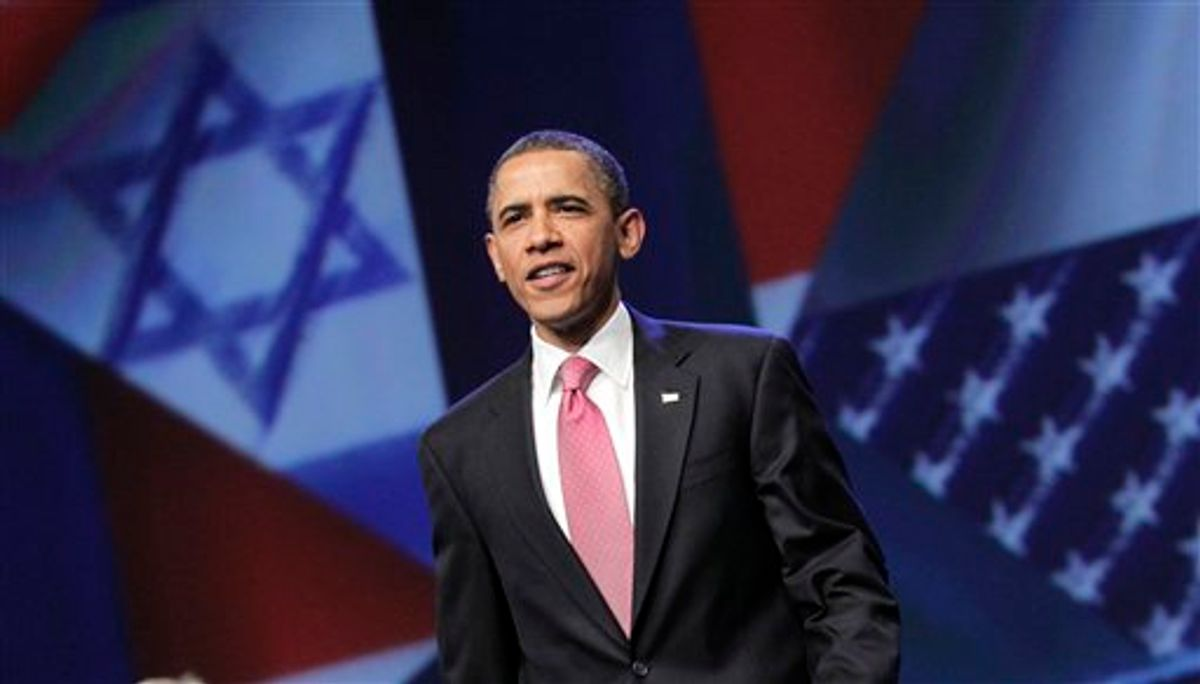 President Barack Obama arrives to speak at the American Israel Public Affairs Committee (AIPAC) convention in Washington, Sunday, May 22, 2011, after a contentious couple of days this week when he clashed publicly with Israeli Prime Minister Benjamin Netanyahu over ideas for a permanent Palestinian state. (AP Photo/J. Scott Applewhite) (AP)