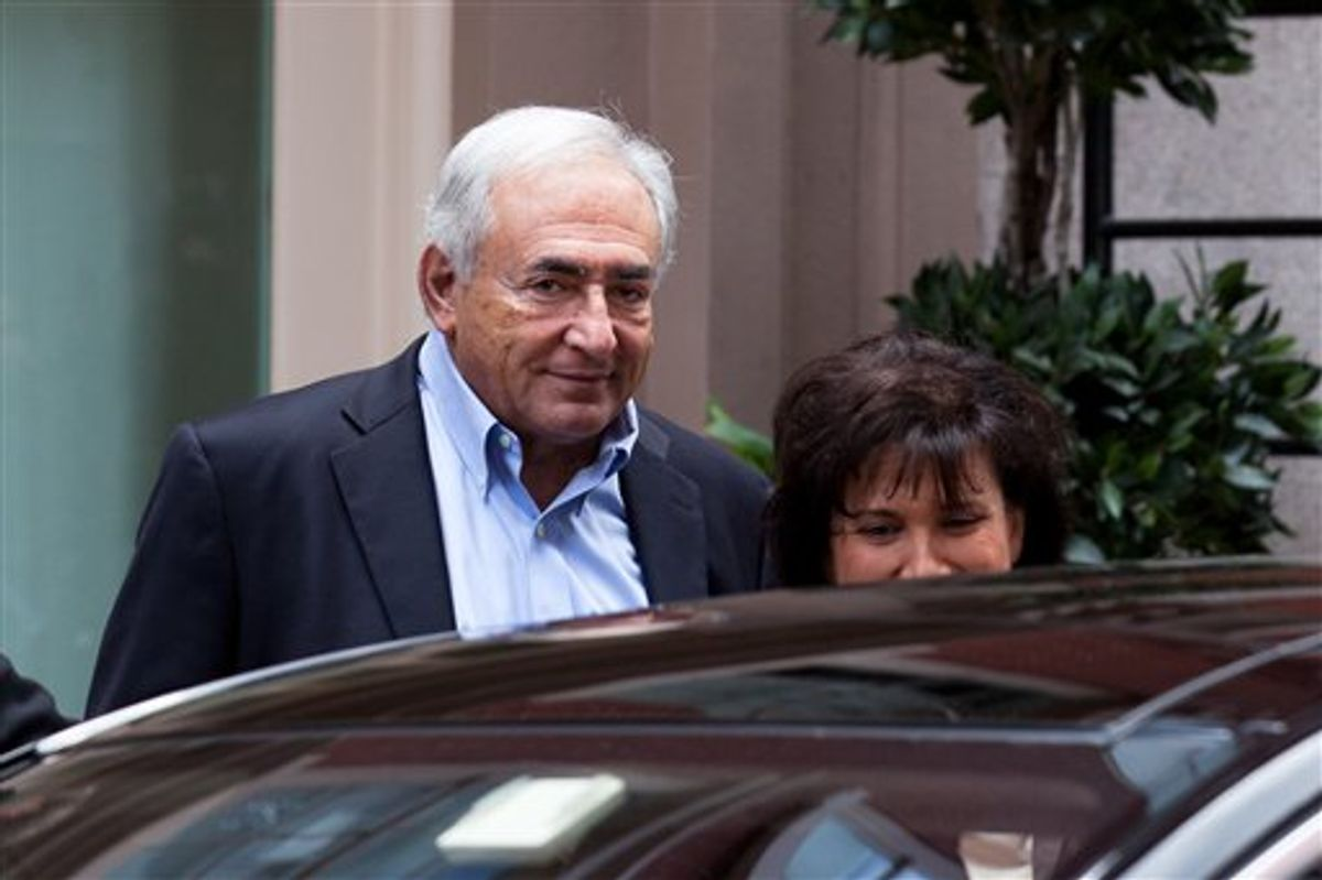 Former International Monetary Fund leader Dominique Strauss-Kahn leaves his temporary residence in Tribeca, Saturday, July 2, 2011, in New York.  A judge released him Friday without bail or home confinement in the sexual assault case against him after prosecutors acknowledged serious questions about the credibility of the hotel maid who accused him of sexual assault. The criminal case against him stands. (AP Photo/John Minchillo) (AP)
