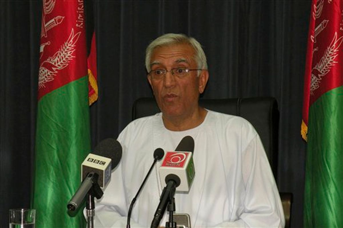 In this undated image made available by the provincial media center Kandahar Mayor Ghulam Haider Hamidi addresses a press conference in Kandahar south of Kabul, Afghanistan. The mayor of Kandahar was assassinated on Wednesday July 27, 2011 by a suicide bomber who hid explosives in his turban Afghan officials said. The Taliban say they sent the suicide bomber who killed the mayor of Kandahar in southern Afghanistan. Hamidi was the third major powerbroker from the south to be slain this month. (AP Photo/Provincial Media Center ) (AP)
