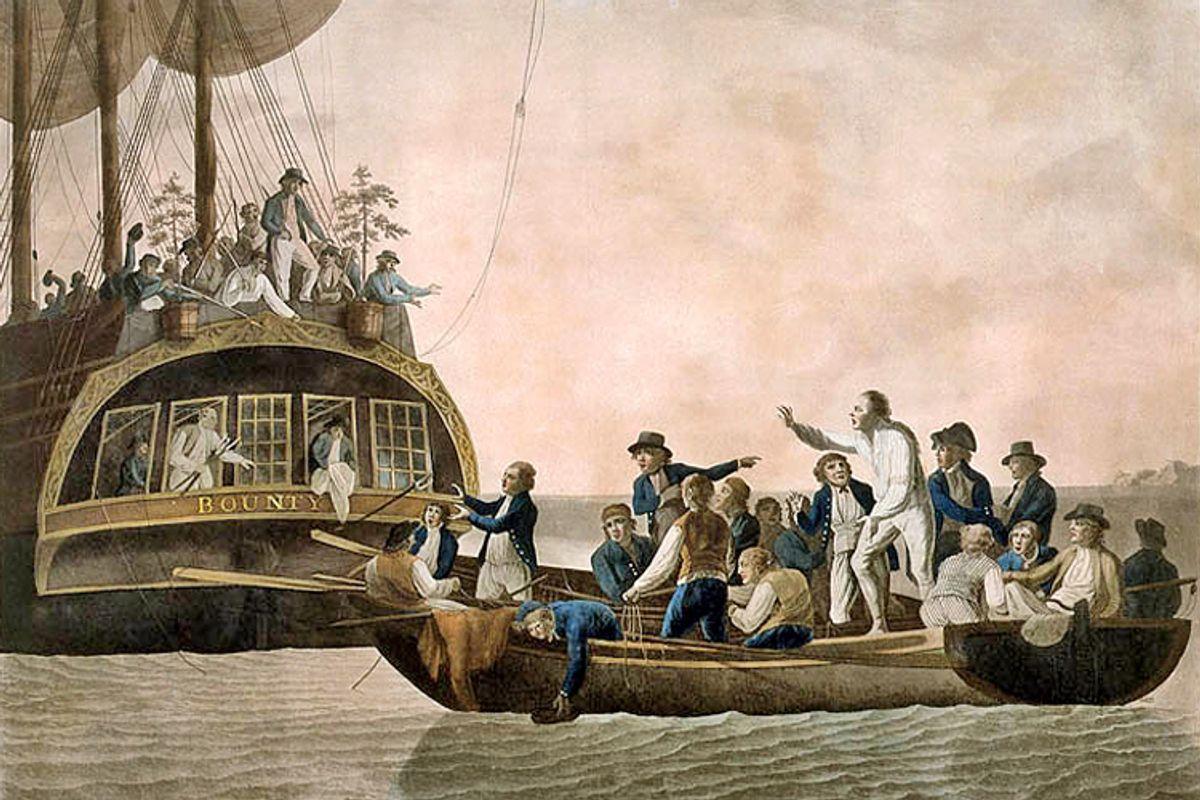 Robert Dodd's engraving of the HMS Bounty mutiny.