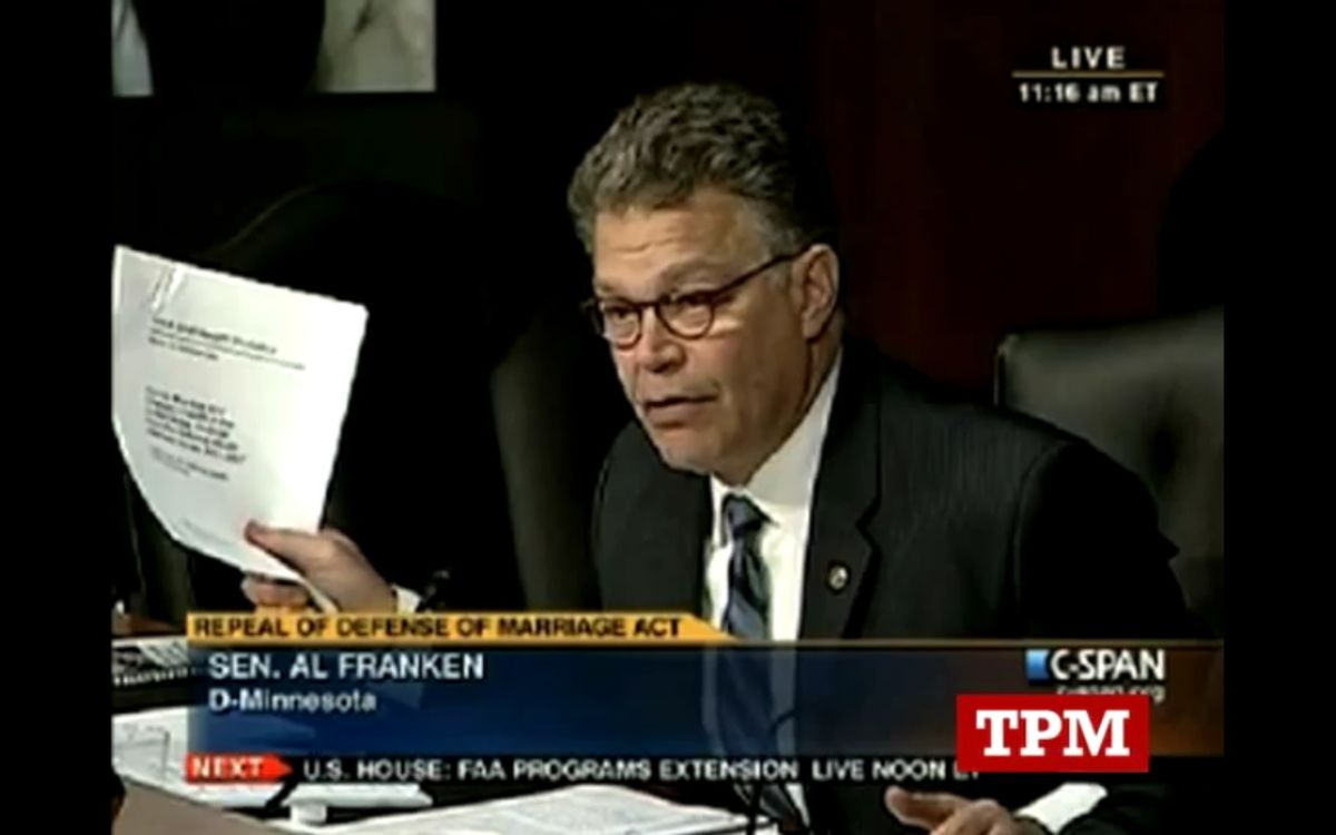 Sen. Al Franken (D-Minn) takes down a witness defending DOMA during a Senate hearing this week