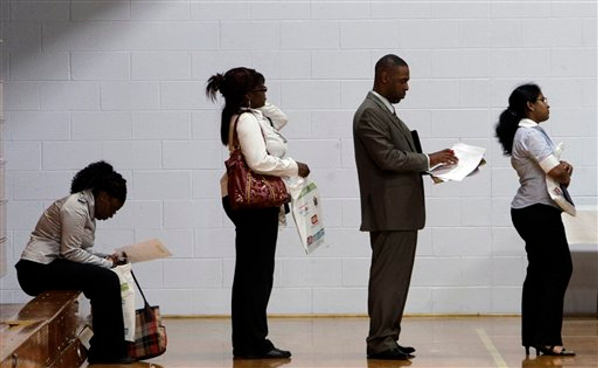 In this June 15, 2011 photo, job seekers wait in a line at a job fair in Southfield, Mich. Two years after economists declared the end of the Great Recession, the rebound is the weakest since the 1930s and the most lop-sided.  (AP Photo/Paul Sancya) (AP)