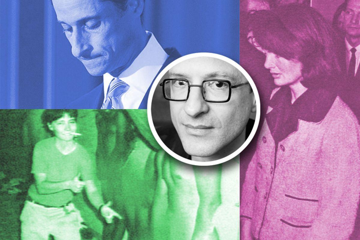 Clockwise, from top left: Anthony Weiner, Jacqueline Kennedy, Lynndie England. Center: Wayne Koestenbaum